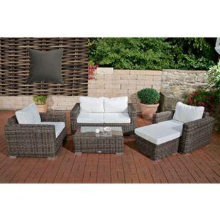 CLP Polyrattan Gartengarnitur Bilbao Inklusive Polsterauflagen I 1 Sofa & 2 Sessel & 1 Loungetisch & 1 Fußhocker I 5 mm Rattandicke... grau-meliert, Eisengrau - Bild 1