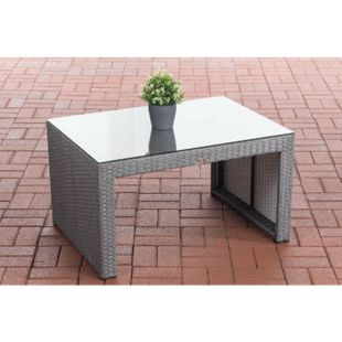 CLP Poly-Rattan Garten Lounge-Tisch CASABLANCA ca. 85 x 60 cm I Höhe: 50 cm I Glasplatte 5 mm Sicherheitsglas I 1,25mm Rattandicke - Bild 1