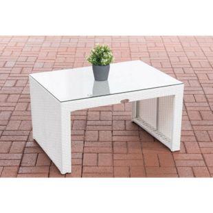 Poly-Rattan Garten Lounge-Tisch CASABLANCA ca. 85 x 60 cm I Höhe: 50 cm I Glasplatte 5 mm Sicherheitsglas I 1,25mm Rattandicke... weiß - Bild 1