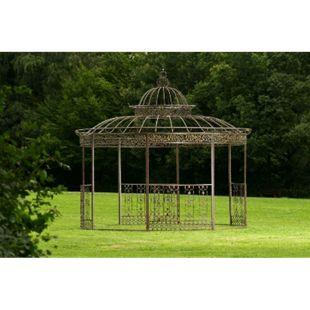 Pavillon ROMANTIK aus pulverbeschichtetem Eisen I Runder Pavillon mit stilvollen Verzierungen l Bepflanzbarer Rankpavillon... bronze - Bild 1