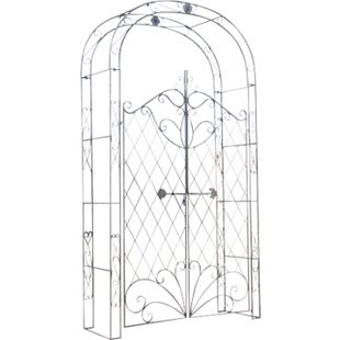 Eisen Rosenbogen MELISSA mit Tor / Tür, Doppeltor Höhe 150 cm, Maße gesamt: Breite 120 cm, Höhe 220 cm, Tiefe 40 cm... bronze - Bild 1