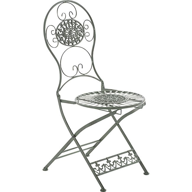 CLP Eisen-Klappstuhl MANI Vintage I Antiker handgefertigter Gartenstuhl aus Eisen I In verschiedenen Farben erhältlich... antik-grün - Bild 1