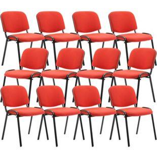 CLP 12er Set Besucherstuhl Ken Stoff I Stapelstuhl Mit Robustem Metallgestell I Polsterstuhl Mit Rückenlehne... rot - Bild 1