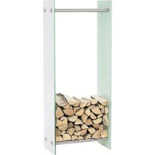 CLP Kaminholzregal / Kaminholzständer DACIO Weißglas I stabile Konstruktion I Holzlager I modernes Glasregal mit Bodenschonern - Bild 1