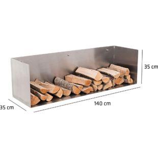 CLP Edelstahl Kaminholz-Halter MENDEL, Kaminholz-Regal zur Wandmontage, Kaminholzständer in bis zu 5 Größen wählbar, max. Belastbarkeit:120 kg - Bild 1