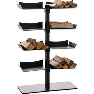 CLP Exklusiver Kaminholzständer ZANKA aus schwarzem Metall   Kaminholzregal mit 8 Ablagen   Holzbutler 110 x 72 x 30 cm - Bild 1