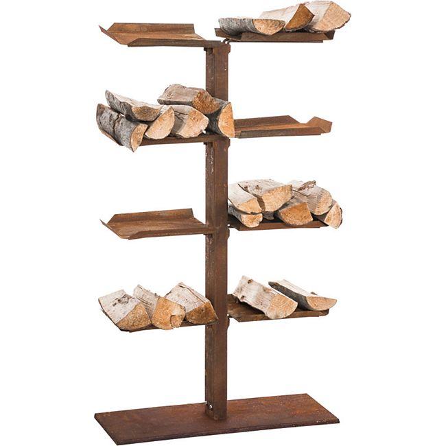 CLP Exklusiver Kaminholzständer ZANKA V2 aus Metall, mit 8 Ablagen, 60 x 25 cm, Höhe 100 cm, Holzbutler, Holzlager... rost - Bild 1