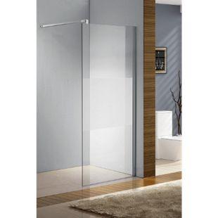 CLP Edelstahl-Duschabtrennung, NANO Glas, Haltestange: QUADRATISCH (bis zu 3 Glasfarben und 20 Größen wählbar)... halbmilchglas, 50x200x100 cm - Bild 1