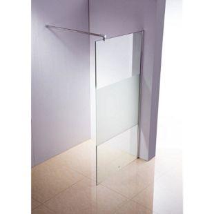 Edelstahl-Duschabtrennung, NANO Glas, Haltestange: RUND (bis zu 3 Glasfarben und 20 Größen wählbar)... halbmilchglas, 50x200x150 cm - Bild 1