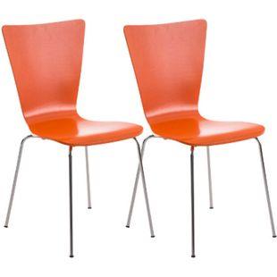 CLP 2x Stapelstuhl Aaron Mit Holzsitz Und Ergonomischer Sitzfläche I Konferenzstuhl Mit 45 CM Sitzhöhe... orange - Bild 1