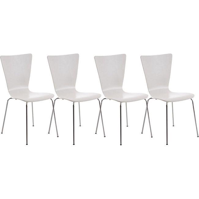 CLP 4er-Set Stapelstuhl Aaron Mit Holzsitz Und Metallgestell I 4 x Stuhl Mit Pflegeleichter Sitzfläche... weiß - Bild 1