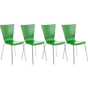 CLP 4er-Set Stapelstuhl Aaron Mit Holzsitz Und Metallgestell I 4 x Stuhl Mit Pflegeleichter Sitzfläche... grün - Bild 1