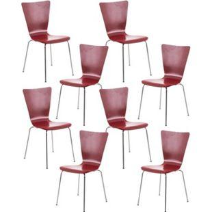 CLP 8x Stapelstuhl Aaron Mit Holzsitz Und Metallgestell I 8 x Stuhl Mit Pflegeleichter Sitzfläche I Set Mit 8 Stühlen... rot - Bild 1