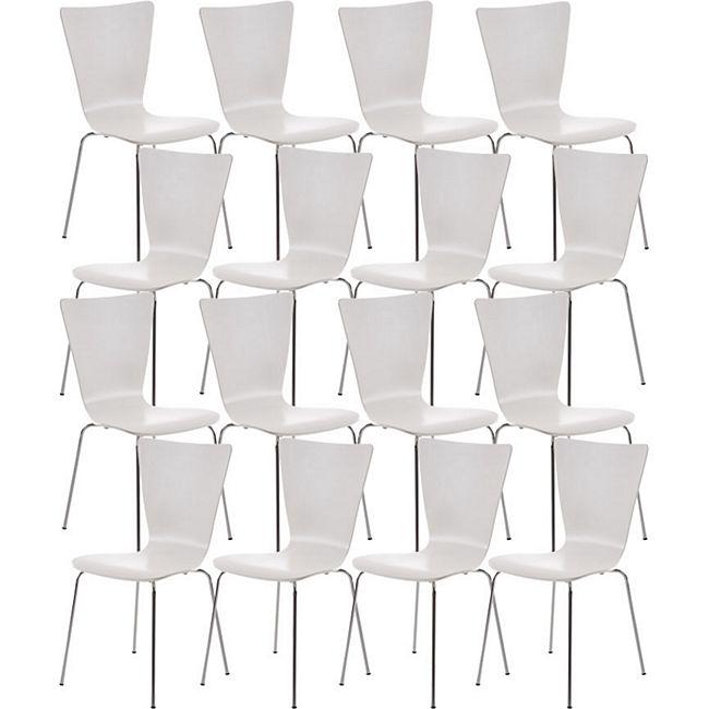 CLP 16 x Stapelstuhl Aaron Mit Holzsitz Und Metallgestell I 16 x Stuhl Mit pflegeleichter Sitzfläche I Set Mit 16 Stühlen... weiß - Bild 1