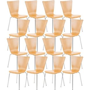 CLP 16 x Stapelstuhl Aaron Mit Holzsitz Und Metallgestell I 16 x Stuhl Mit pflegeleichter Sitzfläche I Set Mit 16 Stühlen... natura - Bild 1