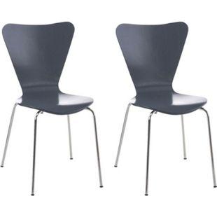 CLP 2x Konferenzstuhl CALISTO mit Holzsitz und stabilem Metallgestell I 2x platzsparender Stuhl mit einer Sitzhöhe von: 45 cm... grau - Bild 1