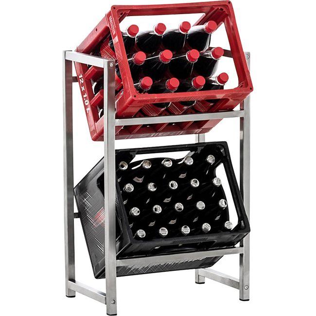 CLP Getränkekistenständer LENNERT I Platzsparender robuster Kistenständer für Getränkekisten I Verschiedene Ausführungen... edelstahl, S - Bild 1