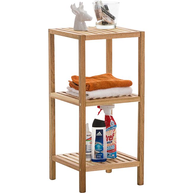 CLP Standregal aus Holz | Holzregal in verschiedenen Höhen erhältlich |  Badezimmerregal mit 3-5 Ablageflächen