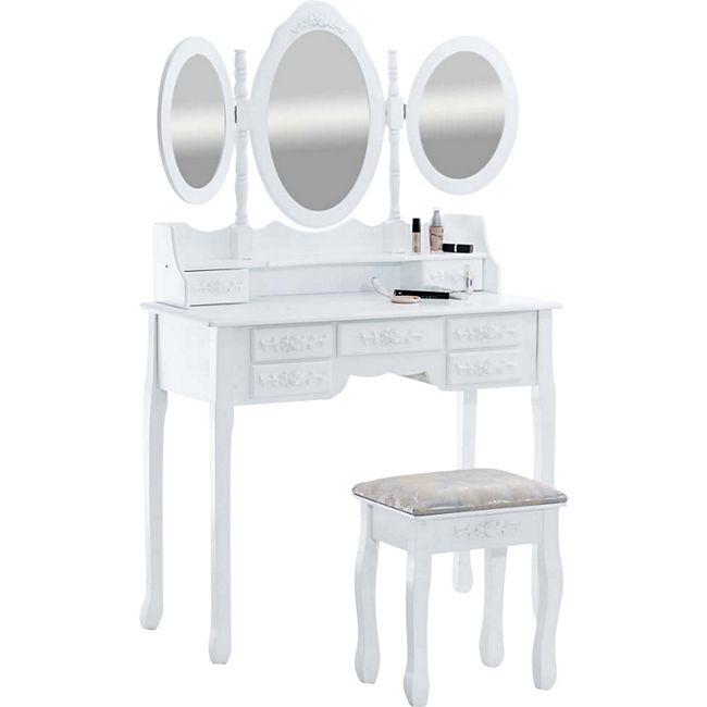 CLP Schminktisch-Set PAULINE mit Spiegel und Sitzhocker   Kosmetiktisch mit Schubladen im Landhausstil   Frisiertisch Komplett-Set mit Spiegel und gepolstertem Hocker - Bild 1
