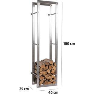 CLP exklusiver Kaminholzständer KERI für die Wand, rostfreier & robuster Edelstahl, Holzbutler in bis zu 8 Größen wählbar, - Bild 1
