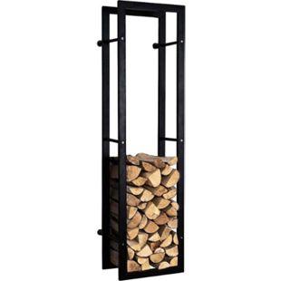 CLP Kaminholzständer KERI für die Wand, Kaminholzregal matt-schwarz, Holzbutler in bis zu 8 Größen wählbar, - Bild 1