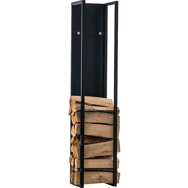 CLP Kaminholzregal SPARK I Brennholzregal aus Edelstahl I Holzbutler in verschiedenen Größen und Farben erhältlich... schwarz-matt, 80 cm - Bild 1