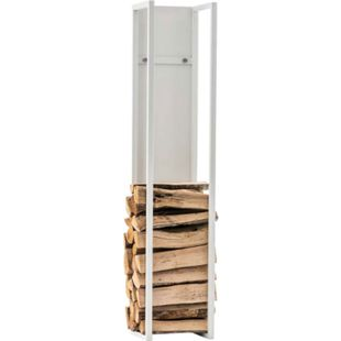 CLP Kaminholzregal Spark I Brennholzregal Aus Edelstahl I Holzbutler In 6 Größen Und 3 Farben Erhältlich... weiß matt, 80 cm - Bild 1