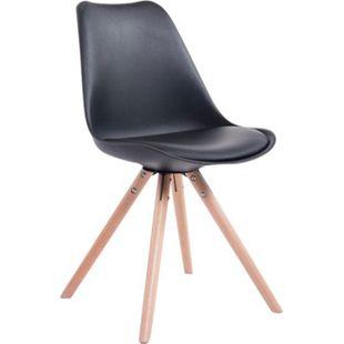 CLP Retro-Stuhl Toulouse Rund Mit Kunstlederbezug | Kunstoff-Lehnstuhl Mit Holzgestell | In Verschiedenen Farben - Bild 1