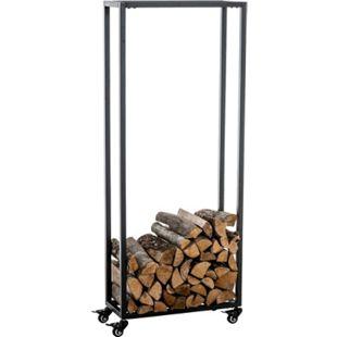 CLP Kaminholzständer HETTA, Brennholzständer, Kamin-Holzregal, Holzlager, Kamin-Holzhalter, Holzbutler,... schwarz, 25x40x100 cm - Bild 1
