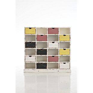 CLP Vintage-Regal TETJE aus Mahagoniholz | Handgefertigtes Highboard mit 12 Schubladen | Mehrfarbige Kommode... weiß - Bild 1
