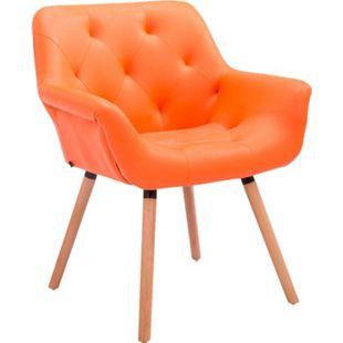 CLP Esszimmerstuhl CASSIDY mit Kunstlederbezug und sesselförmigem Sitz I Retrostuhl mit Armlehne... orange, Natura - Bild 1
