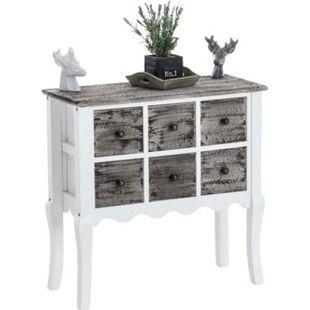 CLP Holzkommode LENNON mit sechs Schubladen I Anrichte aus Blauglockenholz I Sideboard im Landhausstil - Bild 1