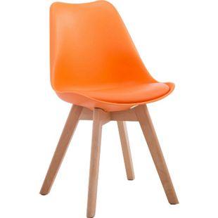CLP Retrostuhl Borneo V2 Mit Kunstlederbezug Und Hochwertiger Polsterung I Lehnstuhl mit robustem Holzgestell I Sitzhöhe: 47 cm... orange, Natura - Bild 1