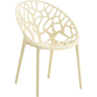 CLP Gartenstuhl HOPE aus Kunststoff I Wetterbeständiger Stapelstuhl mit einer max. Belastbarkeit von 150 kg I In verschiedenen Farben erhältlich... creme - Bild 1