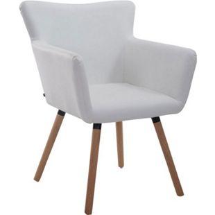 CLP Esszimmerstuhl ANTWERPEN mit hochwertiger Polsterung und Kunstlederbezug I Konferenzstuhl mit Holzgestell und Bodenschonern... weiß, Natura - Bild 1