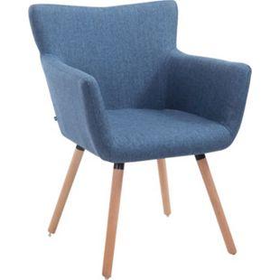 CLP Esszimmerstuhl ANTWERPEN mit hochwertiger Polsterung und Stoffbezug I Konferenzstuhl mit Holzgestell und Bodenschonern... blau, Natura - Bild 1