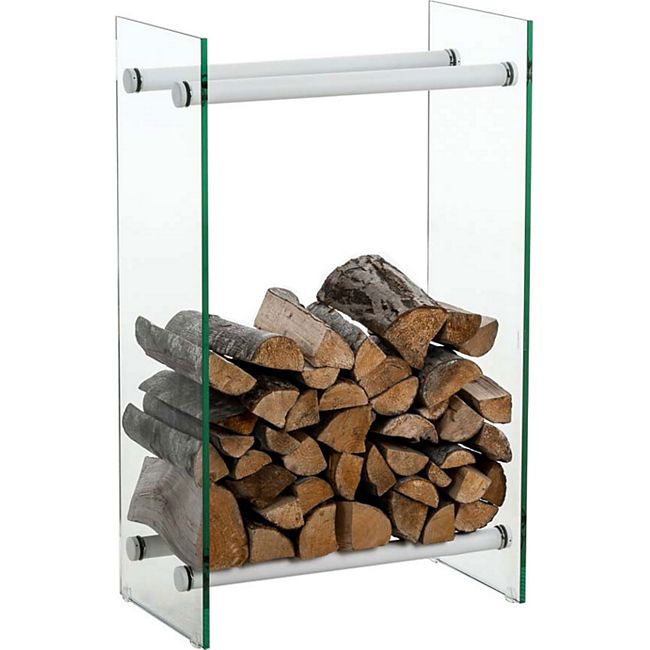 CLP Kaminholzregal / Kaminholzständer DACIO aus Klarglas I stabile Konstruktion I Holzlager I modernes Glasregal mit Bodenschonern - Bild 1
