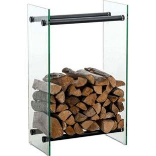 CLP Kaminholzregal / Kaminholzständer DACIO aus Klarglas I stabile Konstruktion I Holzlager I modernes Glasregal mit Bodenschonern... klarglas, 35x40x60 cm - Bild 1