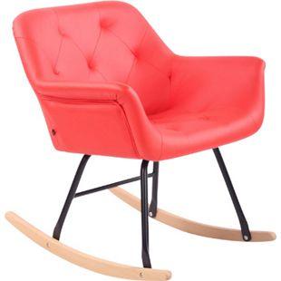 CLP Schaukelstuhl Cabot mit Kunstlederbezug I Schaukelsessel mit Metallgestell I Relaxsessel mit Kufen I Schwingstuhl I Sitzhöhe: 45 cm... rot - Bild 1