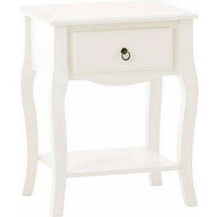 CLP Beistelltisch JULIE aus weiß lackiertem Holz I Nachttisch im Landhausstil I Holztisch mit einer Schublade... weiß - Bild 1