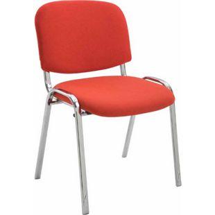 CLP Konferenzstuhl KEN CHROM mit hochwertiger Polsterung und Stoffbezug I Stapelstuhl mit robustem Metallgestell in Chromoptik... rot - Bild 1