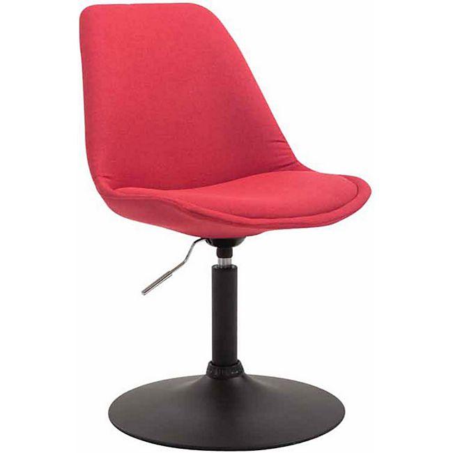 CLP Esszimmerstuhl MAVERICK Stoff I höhenverstellbarer Lehnstuhl I Drehstuhl mit Trompetenfuß I Sitzhöhe von ca. 43 - 48 cm... rot, Schwarz - Bild 1