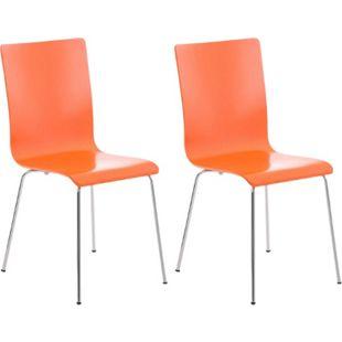 CLP 2er-Set Wartezimmerstuhl PEPE mit ergonomisch geformten Holzsitz und Metallgestell I 2x Konferenzstuhl I In verschiedenen Farben erhältlich... orange - Bild 1