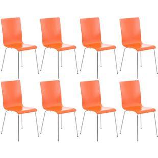 CLP 8er-Set Wartezimmerstuhl PEPE mit ergonomisch geformten Holzsitz und Metallgestell I 8x Konferenzstuhl | In verschiedenen Farben erhältlich... orange - Bild 1