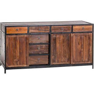 CLP Sideboard AKONA aus recyceltem Holz und Metall I Kommode mit Schubladen und Schiebetüren I Holzkommode im Industrial-Look - Bild 1