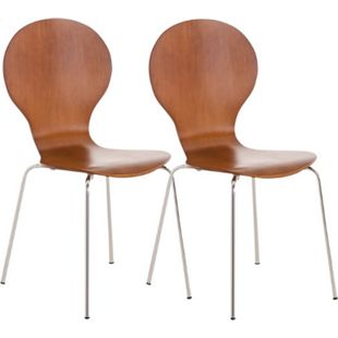 CLP 2x Stapelstuhl Diego I Konferenzstuhl Mit Holzsitz Und Stabilem Metallgestell I 2 x Platzsparender Stuhl Mit Pflegeleichter Sitzfläche... braun - Bild 1