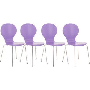 CLP 4x Stapelstuhl DIEGO l Ergonomisch geformter Konferenzstuhl mit Holzsitz und Metallgestell I Stapelbarer Stuhl mit pflegeleichter Sitzfläche... lila - Bild 1