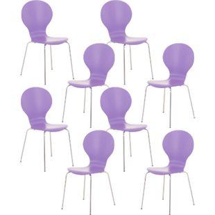 CLP 8 x Stapelstuhl Diego I Ergonomischer Konferenzstuhl Mit Holzsitz Und Metallgestell I Stapelbarer Stuhl Mit Pflegeleichter Sitzfläche... lila - Bild 1