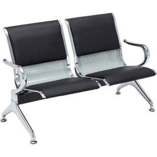 CLP Wartebank Airport mit Polsterung und Kunstlederbezug I Metallgestell in Chrom-Optik I Sitzbank mit Armlehnen - Bild 1
