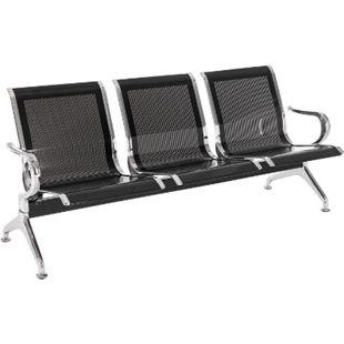 CLP Wartebank Airport mit Metallgestell in Chrom-Optik I Robuste Bank aus Metall I Sitzbank mit Armlehnen... schwarz, 3-Sitzer - Bild 1